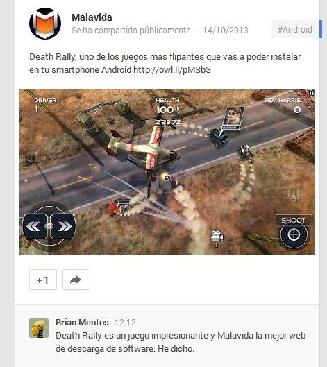 Comentario en Google+ que puede ser utilizado en la publicidad social de Google.