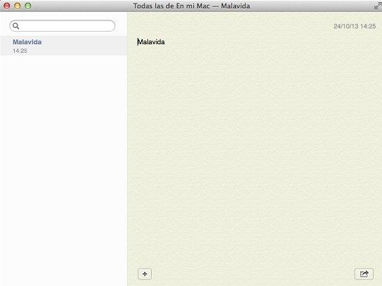 Aplicación de Notas en OS X Mavericks