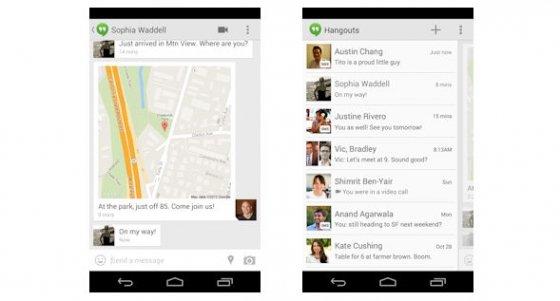 Captura de pantalla de la nueva localización de Hangouts y de la nueva integración de SMS