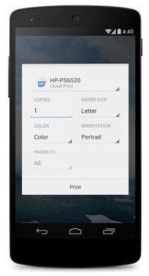 Aplicación de impresión de Android 4.4