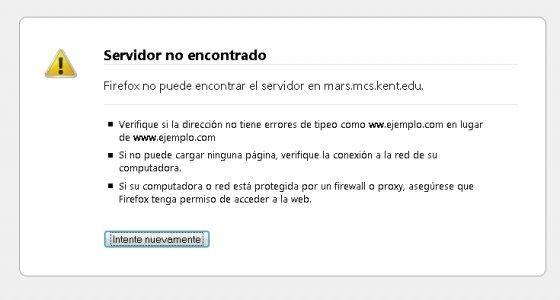 Pantalla de error al tratar de acceder a una web