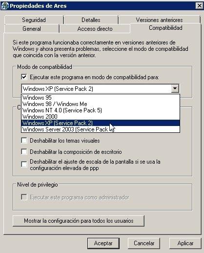 Solución de problemas de coneción con el modo Windows XP