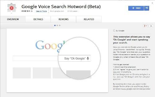 Instala la búsqueda por voz de Google desde Chrome Web Store