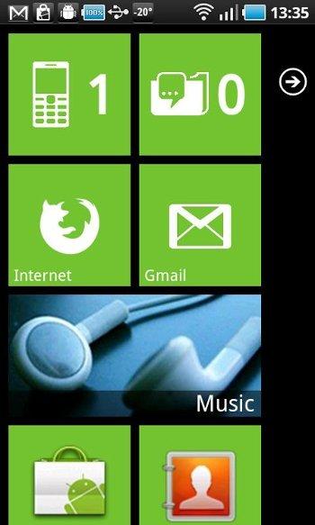 Launcher 7 dota del aspecto de Windows Phone a Android