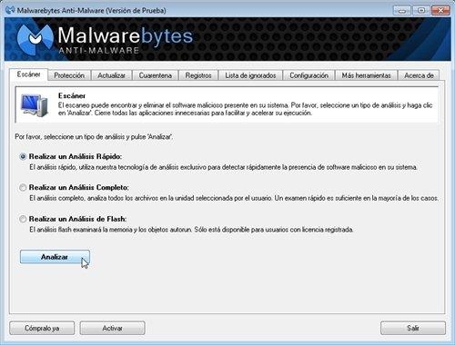Analizar con Malwarebytes Anti-Malware