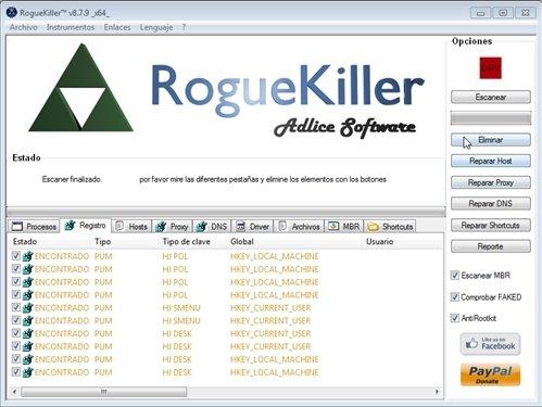 Eliminar con RogueKiller