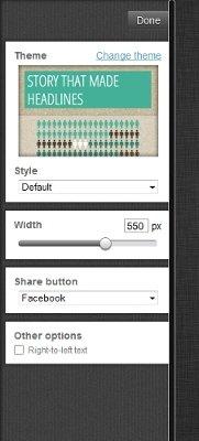 Edición de parámetros de la infografía en infogr.am