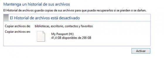Historial de archivos desactivado