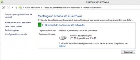 Activar Historial de archivos