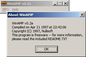 La primera versión de Winamp fue la 0.2a