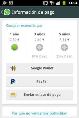 Renueva la suscripción de WhatsApp en Android accediendo a las funciones disponibles en su menú de o