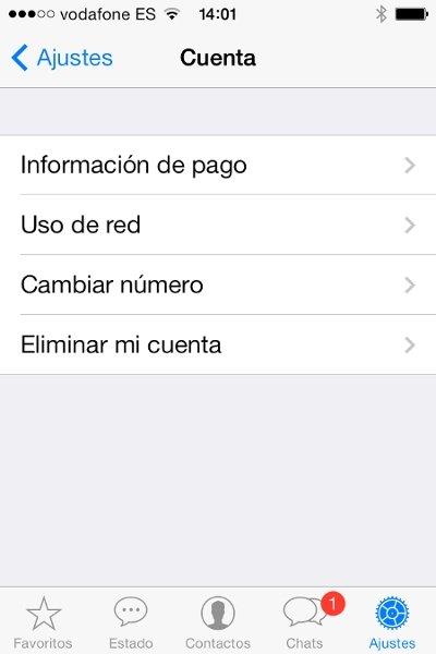 Renueva la suscripción de WhatsApp en iPhone accediendo a su menú de opciones