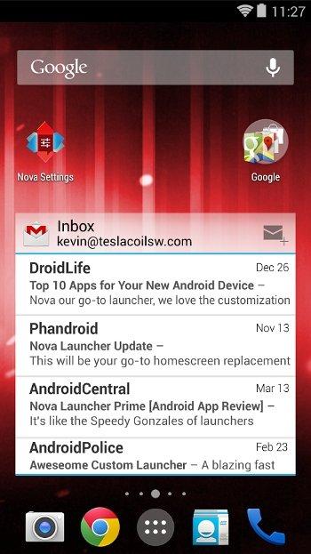 Lectura de correo electrónico en Nova Launcher