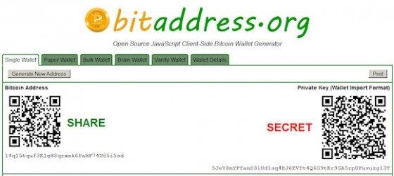 bitaddress genera un monedero Bitcoin Papel