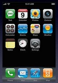 Pantalla de inicio de iPhone OS 1.x
