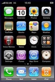 Pantalla de inicio de iPhone OS 3.x