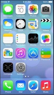 Pantalla de inicio de iOS 7.x