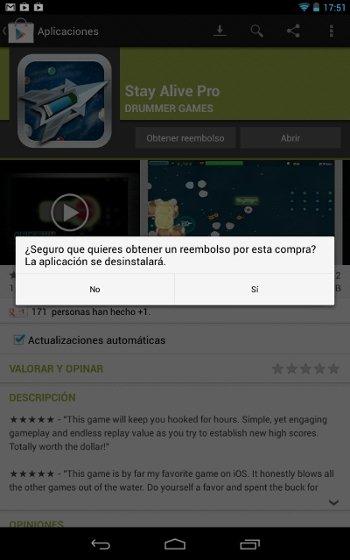 Devolución de dinero desde Google Play en Android