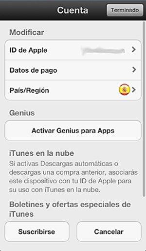 Selección de región en iTunes
