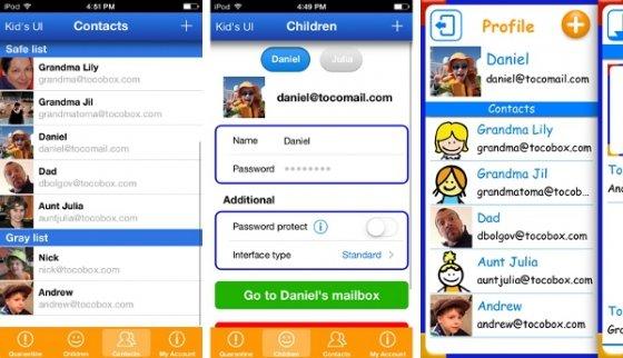 Capturas de Tocomail, el email para niños, en iPhone
