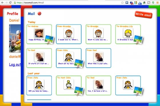 Capturas de Tocomail, el email para niños, en web