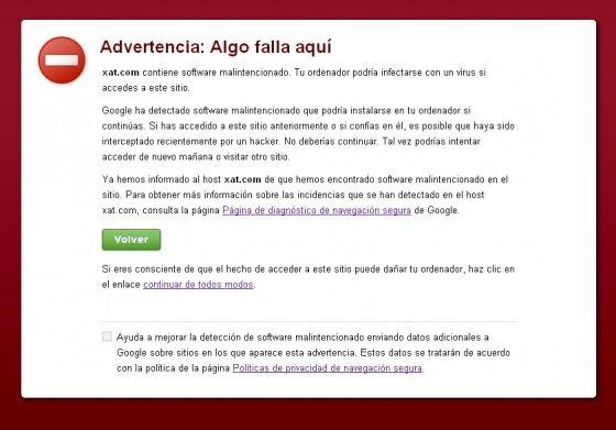 Mensaje de seguridad de Google Chrome