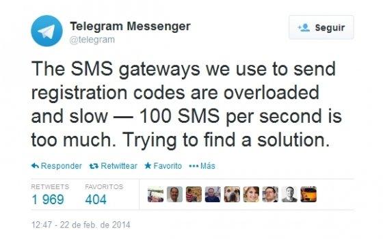 Tweet de Telegram explicando el fallo