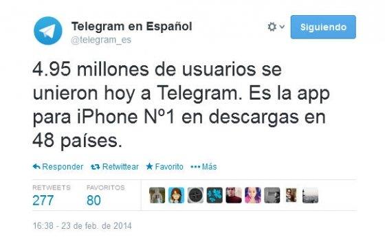 Tweet de Telegram anunciando el número de nuevos usuarios