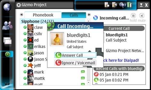 Captura de un Nokia N800 con Gizmo