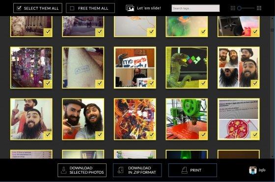 Selección de todas las fotos en Save-o-gram