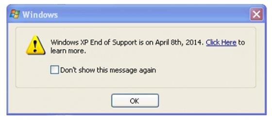 Mensaje anunciado el fin de soporte en Windows XP