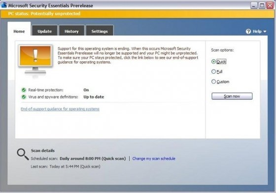 Microsoft Security Essentials avisa a los usuarios de Windows XP