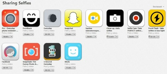 Sección Sharing Selfies en la App Store
