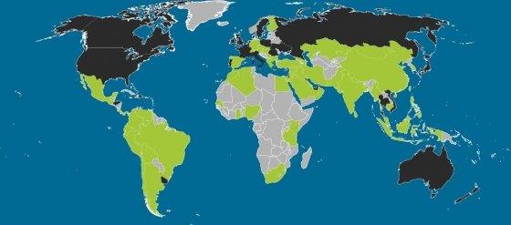 Mapa de navegación web móvil en el mundo