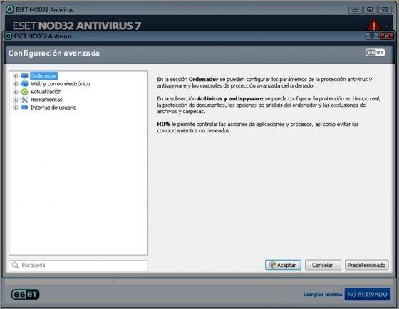 Configuración avanzada de NOD32