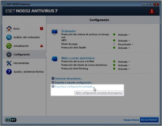 Especificación de la configuración avanzada de NOD32