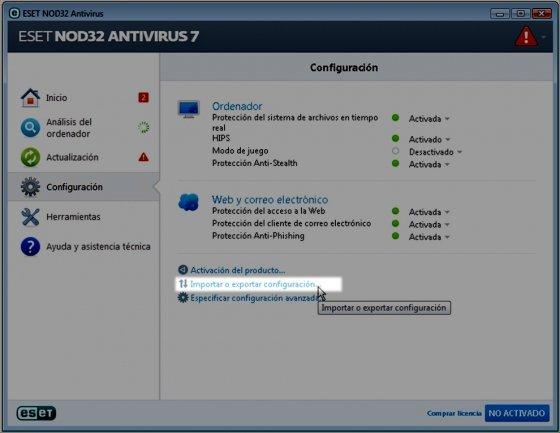 Importar/exportar la configuración de NOD32