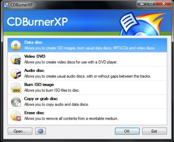 Interfaz de CDBurnerXP