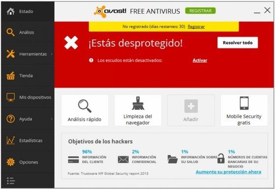 Pantalla de Estado de Avast! desactivado