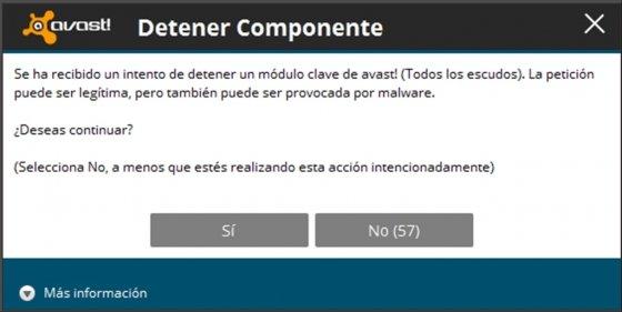 Confirma la desactivación de la protección Avast!