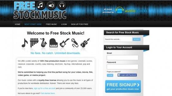 Interfaz de Free Stok Music