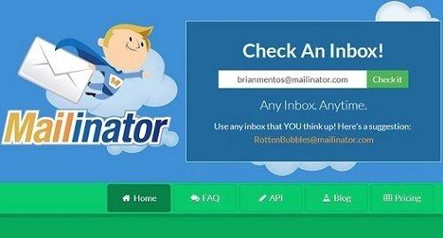 Interfaz de Mailinator