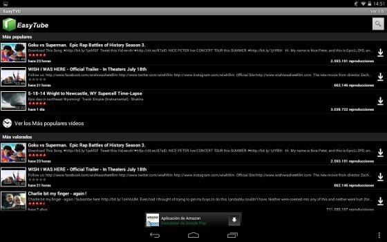 Captura EasyTube para descargar vídeos de YouTube desde Android