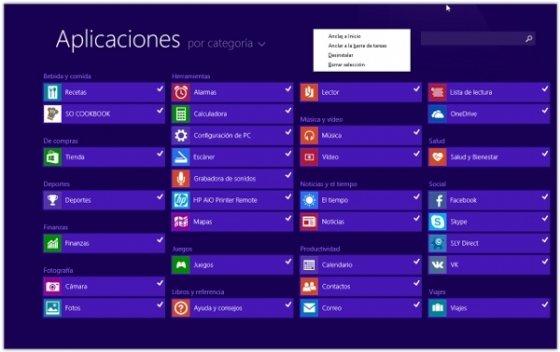 Lista de aplicaciones Modern UI