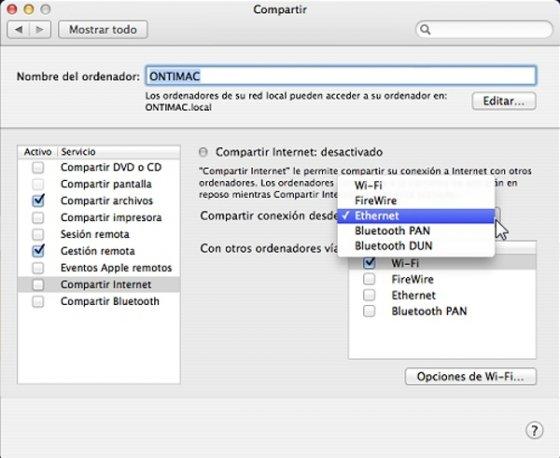 En Preferencias del Sistema encontrarás las opciones para compartir conexión a Internet desde un Mac