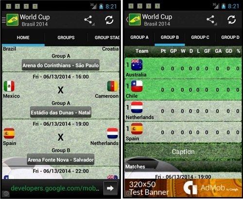 Interfaz de Copa Mundial Brasil 2014