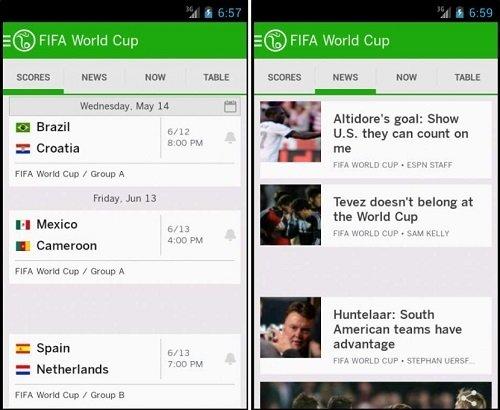 Interfaz de ESPN FC Fútbol y Copa Mundial
