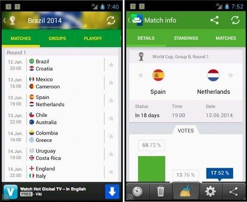 Interfaz de SofaScore Mundial 2014 Brasil