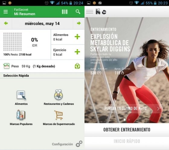 Interfaz Contador de calorías y Nike Training Club