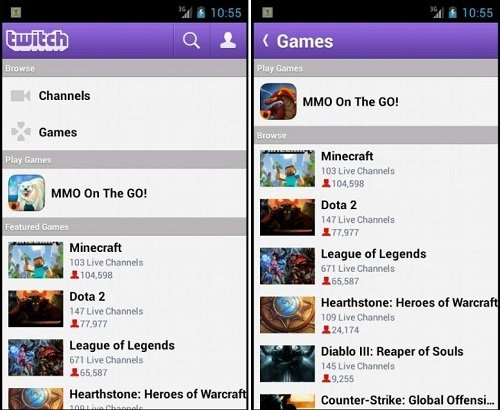 Interfaz de Twitch para Android